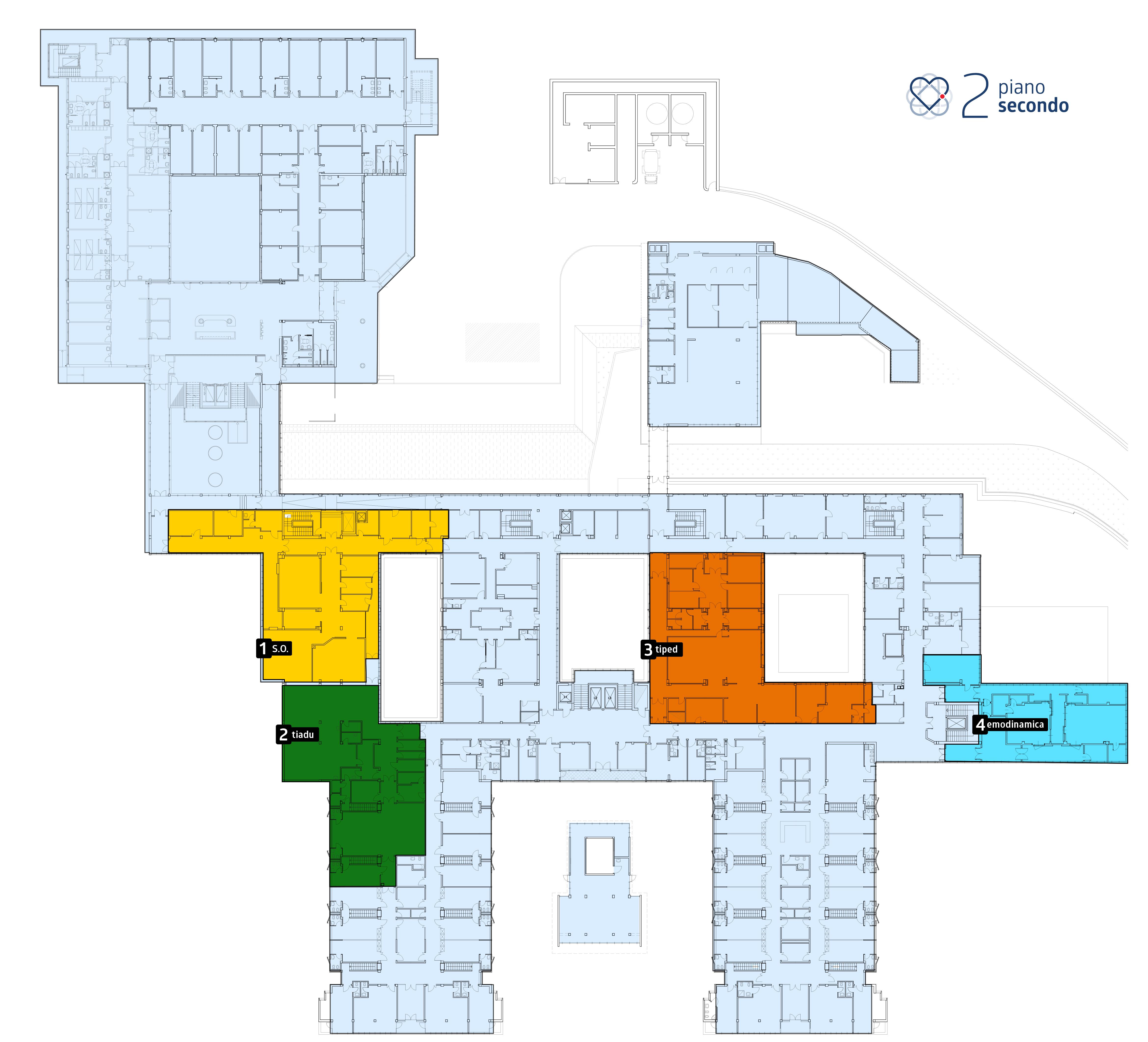 Ospedale del Cuore, Massa - Piano secondo