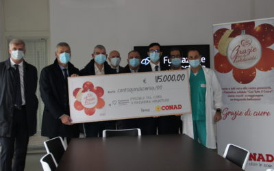 Conad Nord Ovest conferma l'impegno a fianco degli ospedali pediatrici devolvendo 400 mila euro: 115 mila euro all'Ospedale del Cuore di Fondazione Monasterio